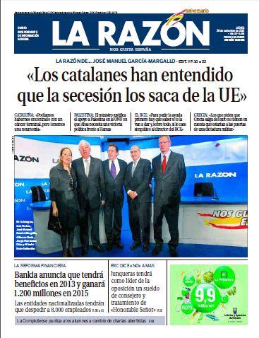 Diario LA RAZON 29 Noviembre 2012