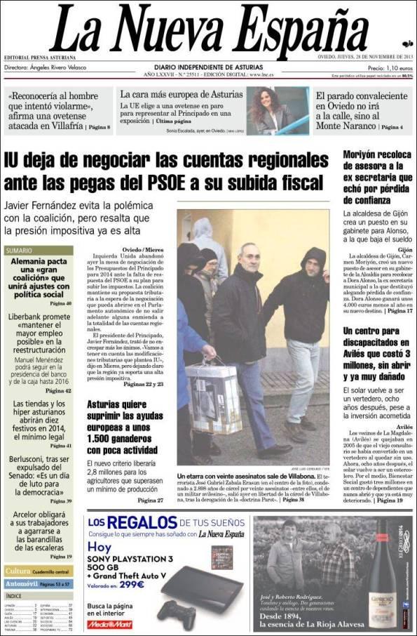 Diario LA NUEVA ESPAÑA 28 de Noviembre de 2013