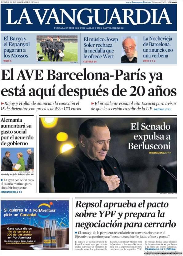 Diario LA VANGUARDIA 28-11-2013