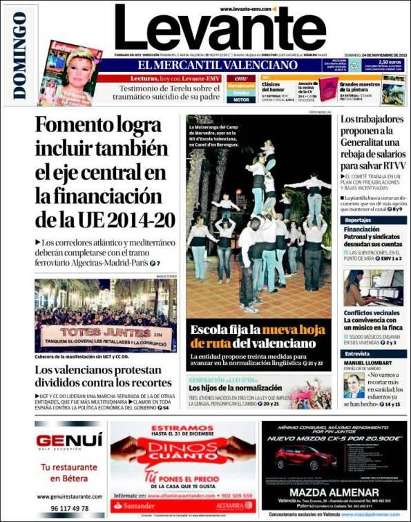 Diario LEVANTE   Suplementos – 24 Noviembre 2013