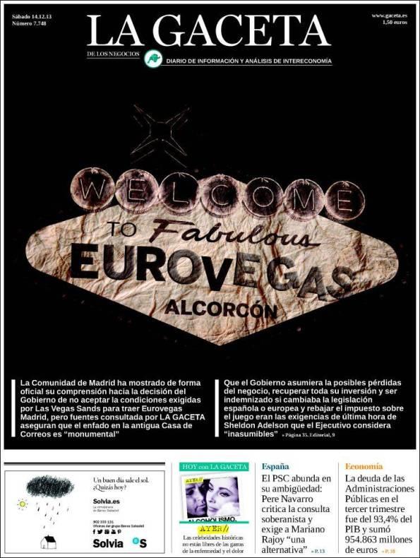 LA GACETA DE LOS NEGOCIOS – 14 de Diciembre de 2013